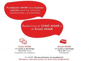 AVISO Fundación ANAR tiene buenas noticias para los niños/as, adolescentes y sus familias: Reabrimos el Chat ANAR.