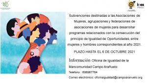 Subvenciones destinadas a las Asociaciones de Mujeres, agrupaciones y federaciones de asociaciones de mujeres para desarrollar programas relacionados con la consecución del principio de Igualdad de Oportunidades, entre mujeres y hombres correspondientes al año 2021.